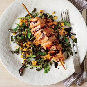 201107-xl-gingered-salmon-with-grilled-corn-and-watercress-salad